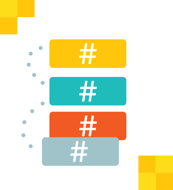 search icon contains hashtag